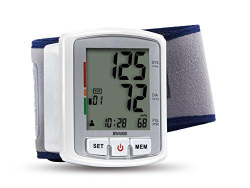 Health and Wellness BW4000 Tensiómetro automático digital de muñeca de tercera generación  con brazalete ajustable e indicador de arritmias
