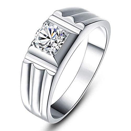 Heren trouwband verlovingsring met Moissanite gesimuleerde diamant in geplatineerd sterling zilver