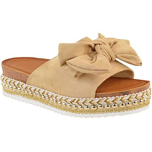 Heelberry® Fashion Thirsty Damen-Sandalen mit Schleife, flach, Peep-Toe, Perlen-Nieten, Beige - Nude Velourslederimitat - Größe: 41 EU