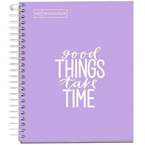 MIQUELRIUS - Cuaderno Notebook Messages - 1 franja de color, A6, 100 Hojas cuadriculadas de 5mm, Papel 90 g, Sin Taladros, Cubierta de Cartón Extra Duro, Color Lavanda