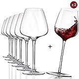 Weingläser set mundgeblasene- Zahlen Sie 6 erhalten Sie 8 Rotweingläser- 630ml, bleifreies Kristallglas handgefertigt, Burgunder Classic, Einzigartige Kollektion- mit 2 Funny Rocking Gläser