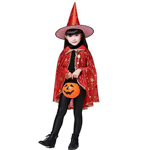 NIMIFOOL Disfraces para niños Disfraz de Capa de Diablo Bolsa de Calabaza Unisex Familia de Padres e Hijos Adecuado para la Fiesta Familiar de Halloween Adecuado para una Altura de 110-130 cm,Red