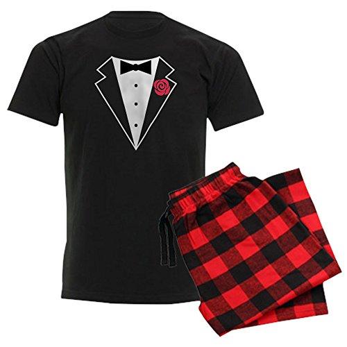 CafePress Funny Tuxedo [Red Rose] Unisex Novelty Cotton Pajama Set, Comfortable PJ Sleepwear