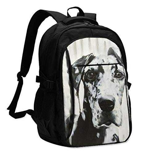 Large Black and White Harlequin Great Dane Art Travel Laptop Backpack with USB Charging Port for Women & Men Casual Hiking Daypack Business College School Computer Bag Fits 14/15.6 Inch Laptop