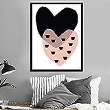 tzxdbh Wandkunst Leinwand Malerei Poster einfachen Stil schwarz rosa Liebe Bild modularen Druck...