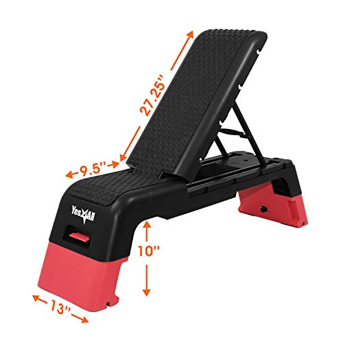 Yes4All Multifunctional Fitness Aerobic Step Platform/Aerobic Deck, Household Step Workout Bench for Home Gym (Red/Black)