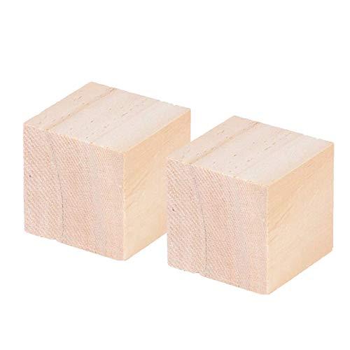 LOKIH Holzwürfel Bastelwürfel Blanko Holzwürfel Für DIY Briefmarken, Zahlenprojekte & Kunst Und Handwerksarbeiten,60mmx60mmx60mm(2pcs)