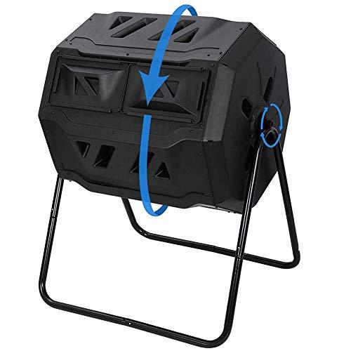 ZHANGYY Compostador Giratorio con 2 recipientes giratorios Dobles, compostaje rápido, Recipiente Giratorio de 360 ° para compostaje, Cubos de Basura para jardín con Soporte de Acero