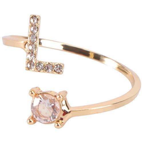 Happyyami Letra de Oro L Anillo con Incrustaciones de Diamantes de Imitación Anillo de Dedo Inicial Joyería de Dedo de Moda