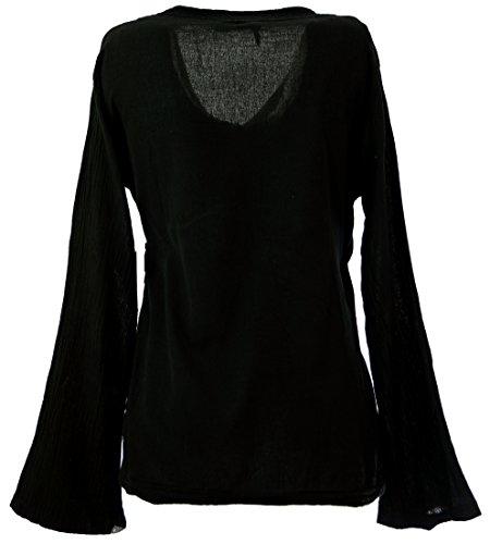 GURU SHOP Goa Wickelbluse Baumwolle, Damen, Schwarz, Size:S (36), Blusen & Tunikas Alternative Bekleidung