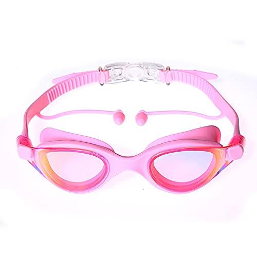 WHBGKJ Kinderen zwembril Professionele Zwembril Zwemmen met oordopjes Waterdichte bril Anti-Fog Anti-UV Siliconen Bril…