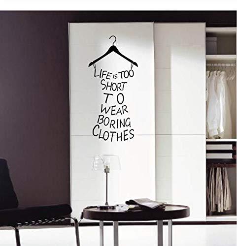 Etiqueta de la pared del guardarropa para la decoración del hogar la vida es demasiado corta para llevar ropa aburrida papel pintado arte calcomanía decoración del Mural pegatinas