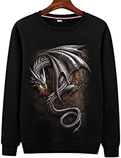 Autumn and Winter Fashion Creative Three-dimensional Pattern Trendy Edition Plus Fleece Sanitary Clothing for Teenagers Printed Loose Men's Long Sleeve 3D Sanitary Clothing