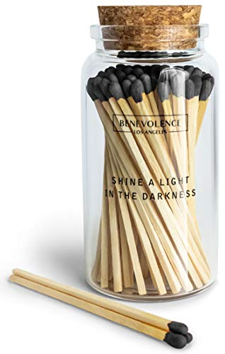 Decorative Matches, Long Matches for Candles in Apothecary Glass Jar, Matches Long Wooden, Safety Matches, Wooden Matches, Long Stick Matches, Midnight Black | Match Gift Set of 80 Matchsticks