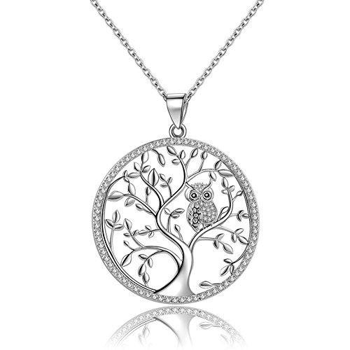 925 Sterling Silver Owl Tree of Life Pendant Necklace with 18 Inch Chain