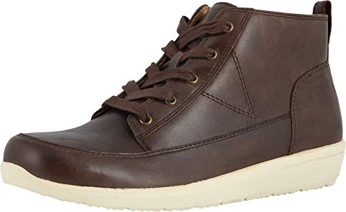 Vionic Women's Magnolia Shawna High Top Sneakers - Ladies Chukka Walking Shoes with Concealed Orthotic Arch Support Brown Leather 8.5 Wide US