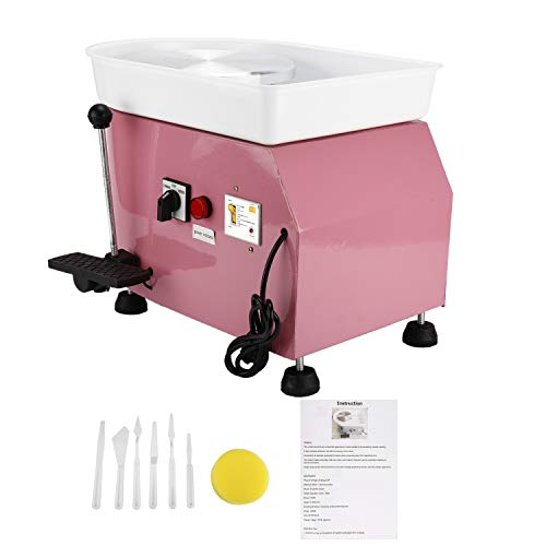 25CM 350W Electric Pottery Wheel Machine Ceramic Clay Work Forming Machine with Lever and Foot Pedal ABS Basin DIY Clay Art Craft Shaping Tools (Pink Color)
