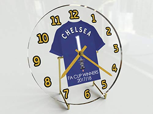 MyShirt123 Chelsea FC Football Club–FA Cup Gewinner 2017/18GEDENKMÜNZE Desktop-Uhr–Geschichte.