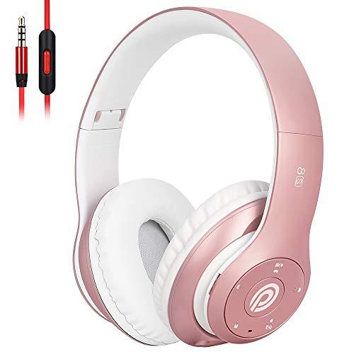 8S Casque Bluetooth, Casque Audio sans Fil Stéréo HiFi avec Micro Intégré, Pliable Supra-Auriculaire Casque sans Fil pour IPhone/Samsung/iPad/PC/FM (Rose)