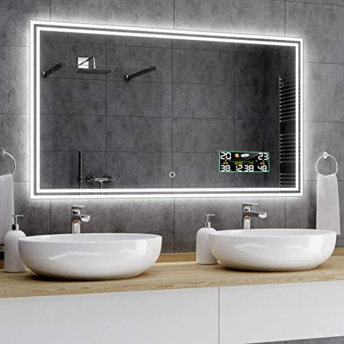 Alasta® Badkamerspiegel met Verlichting - 70x120 cm - Model Viena - Spiegel met Aanraaklichtschakelaar en Weerstation P3