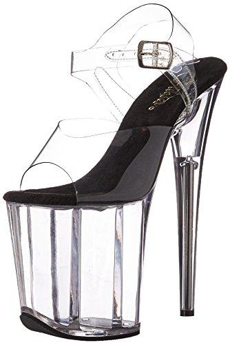 Pleaser Women's Flam808/c-b/c Platform Sandal, Clear-Black/Clear, 8 M US