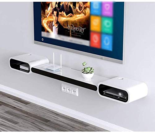 ZXYY Wandrek, drijvend, wandrek, tv-meubel, om op te hangen, TV-meubel, wanddecoratie, plank, set Top Box Router CD rek opslag (kleur: zwart) Black And White - B