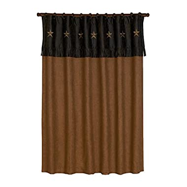 HiEnd Accents Laredo Western Shower Curtain, 72 x 72, Chocolate/Tan