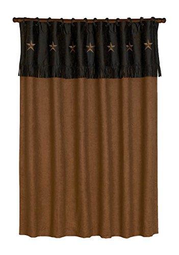 "HiEnd Accents Laredo Western Star Faux Suede Shower Curtain & Rings Bath Set, 72"" x 72"", Tan"