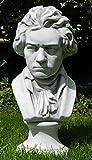 Deko Büste Ludwig Van Beethoven Gartendeko Komponist Höhe 43 cm Statue aus Beton grau patiniert