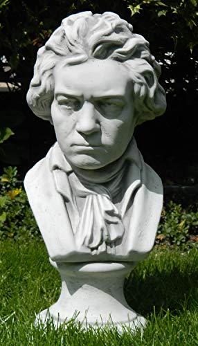 Deko Büste Ludwig Van Beethoven | Gartendeko | Garten Deko | Beethoven Skulptur | Höhe 43 cm | Statue aus Beton grau patiniert.