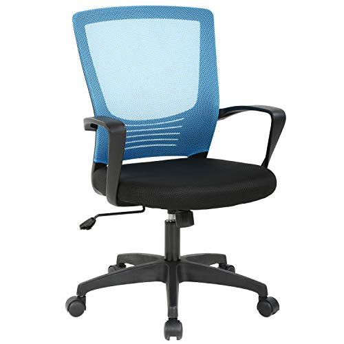 Office Chair Ergonomic Desk Chair Cheap Computer Chair Rolling Swivel Executive Chair Armrest Mesh Chair Adjustable Stool for Back Support, Blue