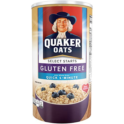Quaker Gluten Free Quick 1-Minute Oats, Non GMO Project Verified, 18oz Canister, 12 Count