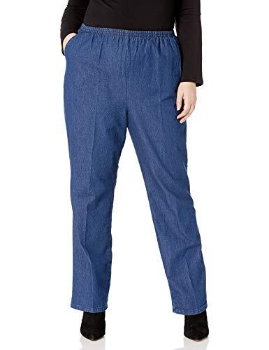 Chic Classic Collection Women's Size Plus Stretch Elastic Waist Pull-On Pant, Original Stonewash Denim, 22W