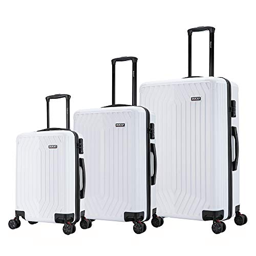 DUKAP STRATOS 3 Piece Hardside Luggage Set with Spinner Wheels, Travel Suitcases with Ergonomic Handles And Combination Lock, White, 3 Piece Set (20/24/28)