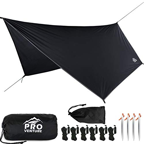 Pro Venture [12ft Hex] Waterproof Hammock Rain Fly - Portable Large Rain Tarp - Premium Lightweight Ripstop Nylon Cover - Fast Set Up, Accessories incl. - A Camping Gear Essential! 12 x 9 ft HEX Shape