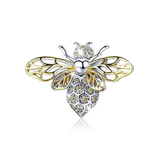 Ciondolo in argento Sterling placcato oro rosa, a forma di ape regina, compatibile con braccialetti e collane Pandora
