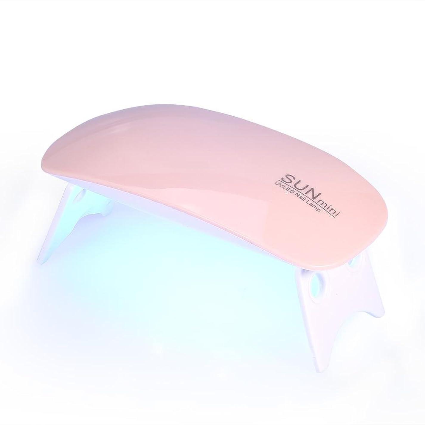円周飢えた発表Qinlorgo UVライトLEDネイルドライヤー硬化ランプ指の爪の爪に基づく45秒60秒タイマー6ワットジェルポリッシュ機ポータブルマニキュア乾燥ツール(ピンク)