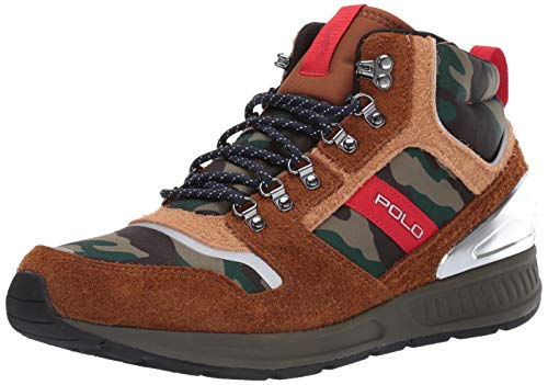 Polo Ralph Lauren Men's TRAIN100MID Sneaker, New Snuff/Light tan/camo 439, 10.5 D US