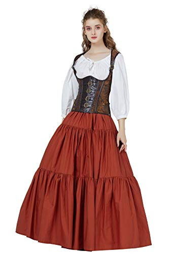 BEAUTELICATE Falda Larga Mujer Algodón Bohemio Falda Medieval Renacentista Gitana Gótico Victoriana Cosplay Ropa de Playa