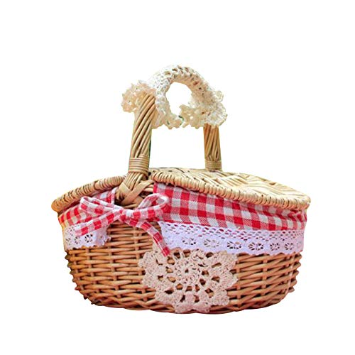 USNASLM Wicker Picnic Basket Shopping Storage Hamper Eco-Friendly with Double Lids Handmade Easter Candy Box