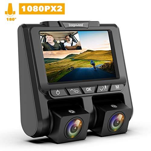TOGUARD Dashcam Full HD Dual 1080P Autokamera Video Recorder mit 340° Weitwinkelobjektiv, Front und Rück Auto Dash Cam WDR, Bewegungserkennung, Loop-Aufnahme und G-Sensor