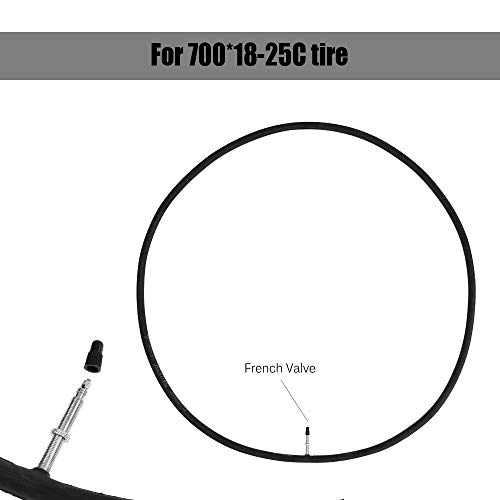 Neumático interior de bicicleta para válvula francesa de 700 x 18-25 C para bicicleta de carretera, ciclismo, bicicleta Fixie, tubo de engranaje fijo, neumático interior de goma