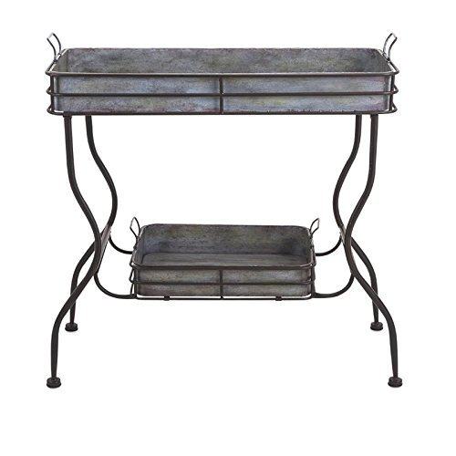 IMAX Maggie Galvanized Tray Table - Unique Accent Table for Garden, Patio, Porches, Metal Organizer with Two Trays. Accent Furniture