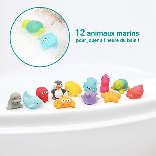 LUDI - 12 animaux marins en plastique pour jouer dans le bain. Dès 6 mois. Animaux arroseurs...