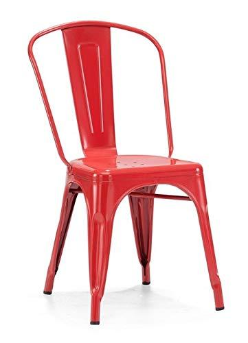 HABITMOBEL Pack 4 sillas de Acero, roja