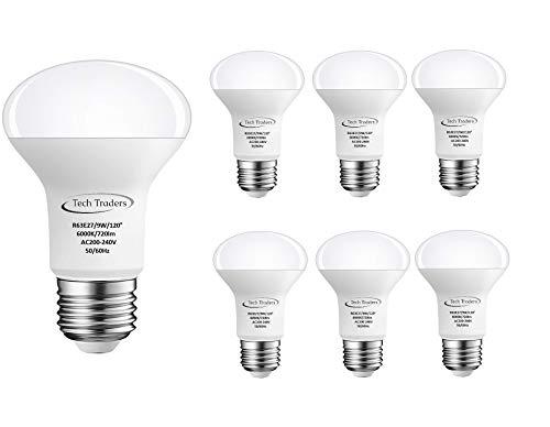 Tech Traders R63,lampadina per faretto a LED E27,9 W, colore bianco freddo/bianco caldo, 720 lm, intensità non regolabile, Cool White 6000k, E27, 9.00W