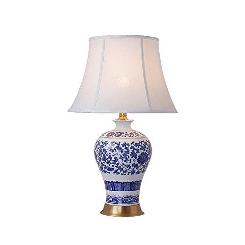 ZWL Lampe de bureau en céramique en céramique en céramique bleue et blanche, décoration de salon Étude Villa Décorer la chambre à coucher Lustre à la lampe de nuit Éclairage créatif simple É27 Lampe de table 39 * 65 ° C fashion.z ( taille : 39*65CM )