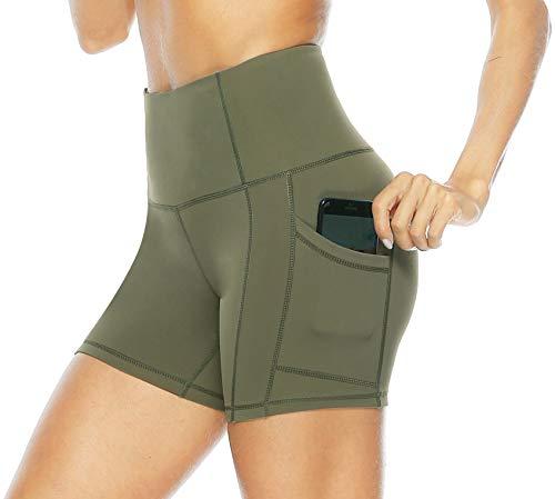 Persit Sporthose Damen Kurz Yoga Leggings - Sport Leggins Yogahose Shorts Fahrradhose Olivengrün-M