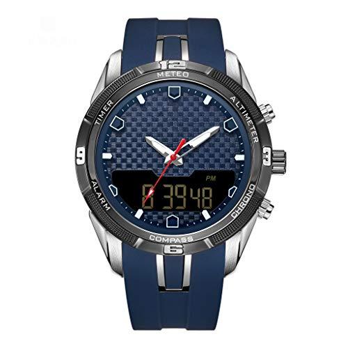 JM- Reloj, Reloj Deportivo para Hombre Cronógrafo Analógico Digital Pantalla de Hora multifunción Reloj Impermeable a Prueba de Agua (Color : Blue)