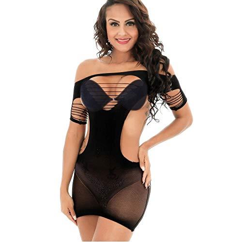 XZSJT Dessous-Sets Für Damen Sexy Dessous Schwarzer Spitze Net Durchbrochenekleid Mini Kurzes Kleid Exotisches Kleid Sexy Perspektive Nachtwäsche Overlay @ Black_One_Size